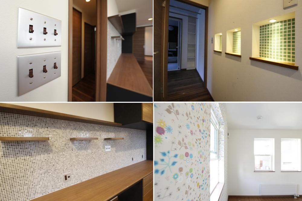 デザインへのこだわり - スイッチや飾り棚、壁の演出やクロスのデザインも、ご相談しながらイメージを形にしていきました -  -