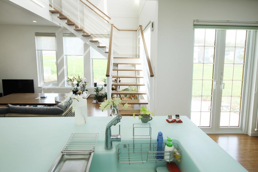 - 明るく開放的な眺めを楽しむキッチン。自然を感じる心地よさの中で、家事も気分よくできます。 -  -