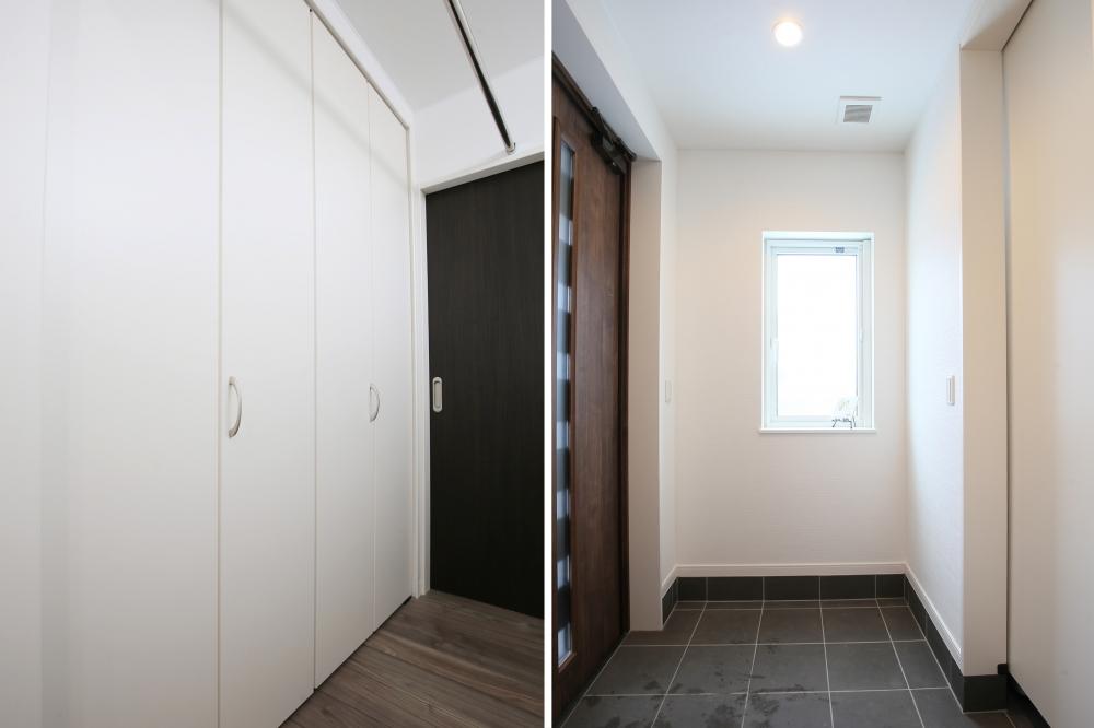 収納、玄関 - 左:洗面スペースのクロゼット。タオルやシャンプーなどの日用品をたっぷり収納。奥は脱衣所につながっています。右:玄関は扉で隠せる大容量のシューズクローク -  -