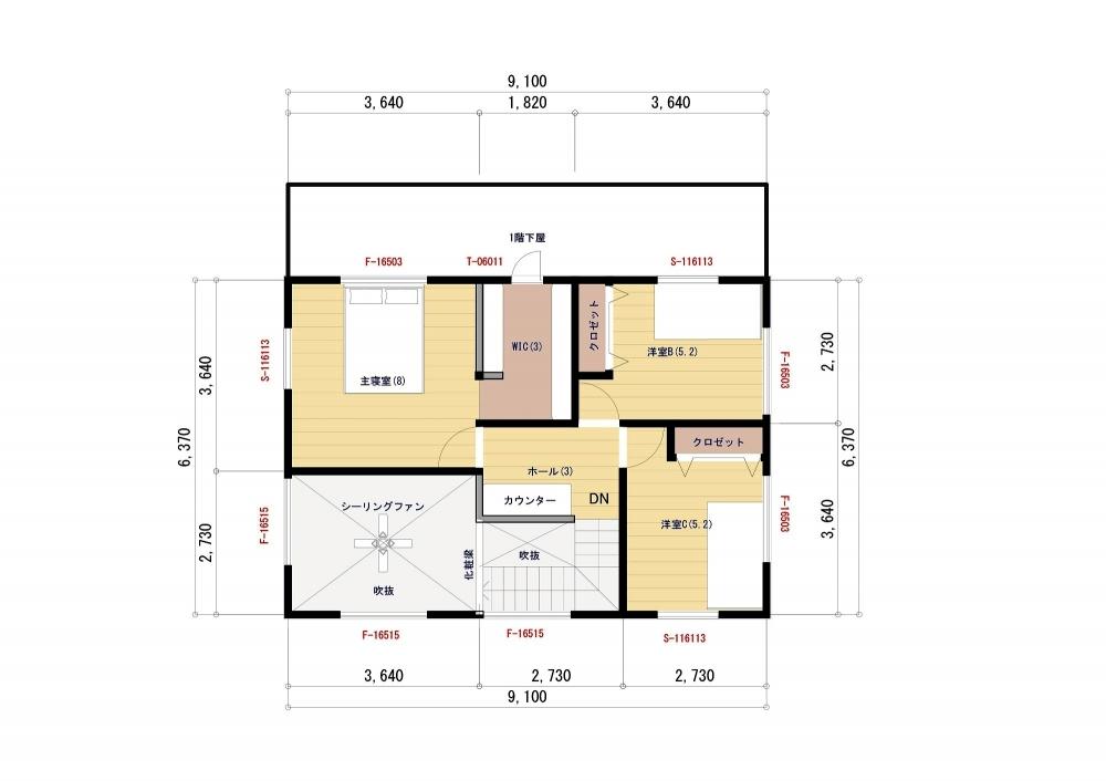 【参考プラン】2階平面図 -  -  -