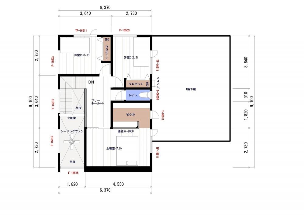 【ご参考プラン】2階平面図 -  -  -