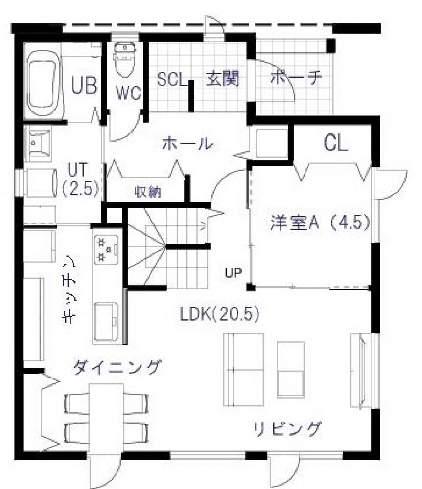 1階平面図 -  -  -