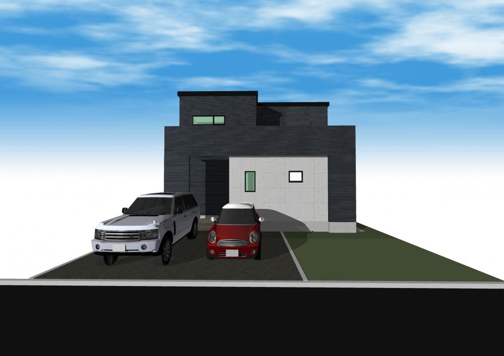 モデルハウスA棟完成予想図(建築予定) -  -  -